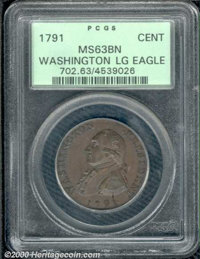 1791 Washington Large Eagle Cent MS 63 Brown PCGS. Baker-15, R.1. The crisply defined, chocolate-brown surfaces have a s...