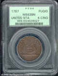 1787 Fugio Cent MS 63 Brown PCGS. UNITED STATES, 4 Cinquefoils. Breen-1307, Kessler 8-B. The ARE in WE ARE ONE on the re...
