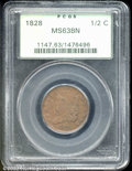 1828 1/2 C 13 Stars MS 63 Brown PCGS. Somewhat muted luster with remnants of faded orange color about the peripheral dev...