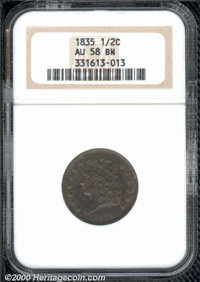 1835 1/2 C AU 58 NGC. Typically bold with traces of coppery-red color about the devices. ...(PCGS# 1168)