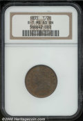 1835 1/2 C MS 63 Brown NGC. B-1, R.1. Very well struck with considerable evidence of faded red color in the protected ar...