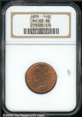 1835 1/2 C MS 63 Red and Brown NGC. Mottled glossy-brown patina intermingles with bright red luster on the obverse. The...