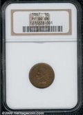 1867 1C PR 64 Brown NGC. Rich olive-brown patina blankets the boldly defined surfaces. The fields reveal modest reflecti...