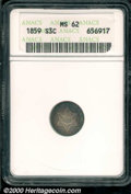 1859 3CS MS 62 ANACS. Rich blue-green iridescence adorns the peripheries on both sides of this otherwise lilac-russet re...