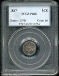 1867 3CS PR 65 PCGS. The somewhat mottled, charcoal-gray toning scheme on the obverse still allows for full appreciation...