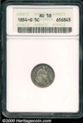 1854-O H10C Arrows AU 58 ANACS. Freckled cobalt-blue and russet patina blankets the lightly worn, yet problem-free surfa...