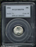 1936 10C MS 67 Full Bands PCGS. The snow-white surfaces display pinpoint striking definition that elicit sharp separatio...