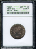 1899 25C --Bent--ANACS. Proof, Net PR 50. Beautifully patinated in champagne shades with a noticeable indentation in the...