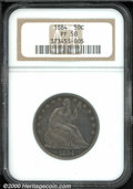 1884 50C PR 58 NGC. Deeply toned in olive-charcoal shades with light wear on the highpoints and scattered abrasions. The...
