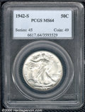 1942-S 50C MS 64 PCGS. Were it not for hallmark striking softness over the central features, this frosty-white coin woul...