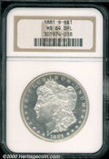 1881-S $1 MS 64 Deep Mirror Prooflike NGC. Untoned with modest contrast between the watery fields and the sharply struck...