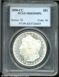 1890-CC $1 MS 63 Deep Mirror Prooflike PCGS. This is a deeply cameoed example whose frosty devices display pinpoint stri...