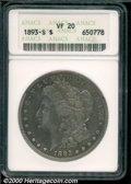 1893-S $1 VF 20 ANACS. A relatively affordable representative of this key date issue, the surfaces show even overall wea...