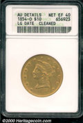 1854 $10 Large Date--Cleaned--ANACS. AU Details, Net XF 40. This is a richly colored, green-gold survivor of this low mi...