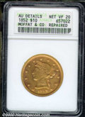 1852 Moffat & Co. Ten Dollar--Repaired--ANACS. AU Details, Net VF 20. Wide Date. K-9, R.6. In addition to the af...
