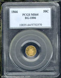 California Fractional Gold: , 1866 50C BG-1006