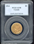 1914 $5 Five Dollar AU 58 PCGS. The partially lustrous, amber-gold surfaces show a few wispy abrasions on the obverse...