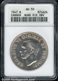 1947 Canada Error S$1 --Quadrupled Die Obverse--Pointed 7 AU 50 ANACS. Bright and unusual with multiple details visible...