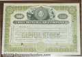 Stocks, Bonds And Checks: , REO Motorcar Company, Stock, 1929, Olive-Black. The REO stands ...