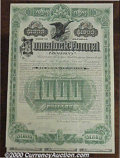 Stocks, Bonds And Checks: , Comstock Tunnel Company, Bond, 1889, Green-Black. Signed by The...
