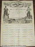 Stocks, Bonds And Checks: , Comet Mining Coming of Utah, Stock, United States, 1883, Black....