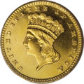Proof Gold Dollars: , 1885 G$1 PR63 Cameo PCGS. With a recorded production of 1,105pieces, the 1885 gold dollar possesses one of the largest pro...