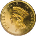 Proof Three Dollar Gold Pieces: , 1887 $3 PR65 PCGS. Many examples were saved of this proof emissionfrom near the end of the series, so that numerous certif...