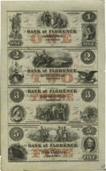 Obsoletes By State:Nebraska, Florence, NE- Bank of Florence $1-$2-$3-$5 18__ G2a-G4a-G6a-G8a Uncut Sheet. These remainders are scarce in sheet form. Hand...