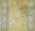Sample United States Security Paper 1830. This approximate 13 by 12 inch sheet has been folded into eighths. The end qua...