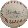 Autographs:Baseballs, Mantle, Musial and Brooks Robinson Multi-Signed Baseball. Presentedin this lot is signatures from a triumvirate of legenda...