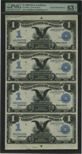 Large Size:Silver Certificates, Fr. 226a $1 1899 Silver Certificates Uncut Sheet of Four PMG ChoiceUncirculated 63 EPQ. All uncut sheets of large size U.S....