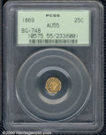 California Fractional Gold: , 1869 25C BG-748