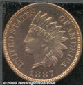 Proof Indian Cents: , 1887 1C, RB