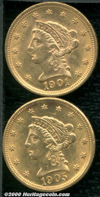 1901 $2 1/2 AU 58; and a 1905 AU 58, both attractive examples, the latter with a few trivial alloy stains on the obverse...