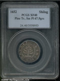 1652 Pine Tree Shilling XF 40 PCGS. Small Planchet. Breen-61, Noe-29. 67.9 grams. Although not perfectly centered, both...