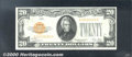 Small Size Gold Certificates:Small Size, 1928 $20 Gold Certificate, Fr-2402, Choice CU. A bright borderl...