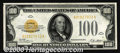 Small Size Gold Certificates:Small Size, 1928 $100 Gold Certificate, Fr-2405, Choice CU. Crisp and b...