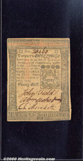 Colonial Notes:Pennsylvania, October 1, 1773, 20s, Pennsylvania, PA-169, VF. Minor edge spli...
