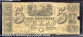 Miscellaneous:Republic of Texas Notes, $5, The Republic of Texas, 6/26/1839, A-4, G-VG. A very well wo...