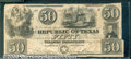 Miscellaneous:Republic of Texas Notes, $50, The Republic of Texas, 1/20/1840, A-7, VG-Fine. An evenly ...