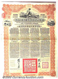 Stocks, Bonds And Checks: , Chinese Government, Reorganization Gold Loan, Brown-Black, 1913...
