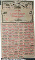 Stocks, Bonds And Checks: , International Railroad Company of Texas, Black-Salmon, 1871. Un...