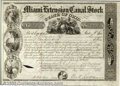 Stocks, Bonds And Checks: , Miami Extension Canal Stock, Ohio, Black, 1845. Printed by the ...