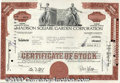 Stocks, Bonds And Checks: , Madison Square Garden Corporation, Brown-Black, 1974. Sports re...