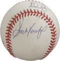Autographs:Baseballs, Feller, Koufax, and Ryan No Hitter Club Multi-Signed Baseball.Three of the most dominant Hall of Fame hurlers to ever take...