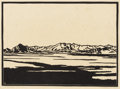 Paintings, FRANK REDLINGER (1909-1936). Soda Lake - Mojave, 1931. Block print. 7 1/4in. x 13in.. Signed and dated lower right. Titl...