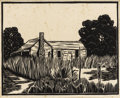 Texas:Early Texas Art - Drawings & Prints, FRANK REDLINGER (1909-1936). Old Cabin, Buffalo Gap, 1933.Block print. 9in. x 11 1/4in.. Signed and dated lower right. ...(Total: 2 Items)