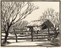 Texas:Early Texas Art - Drawings & Prints, FRANK REDLINGER (1909-1936). Old Fashion Hay Rick, 1933.Block print. 9in. x 11 1/4in.. Signed and dated lower right. Ti...(Total: 2 Items)