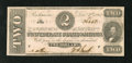 Confederate Notes:1862 Issues, T54 $2 1862. Cr. 391 PF-6 A little handling at left along themargin knocks this piece down from Choice CU. Choice About U...
