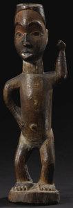 African: , Kongo (Democratic Republic of Congo). Power Figure (N'kisi).Wood, glass, traces of pigment, nail. Height: 11 1/2 inches...
